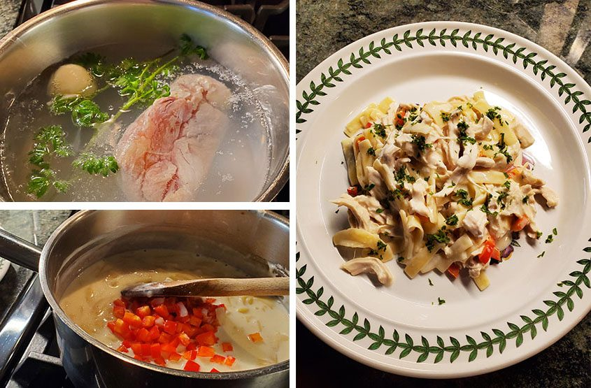 Top left:Poaching boneless chicken with half an onion and some sprigs of parsley. Bottom left:Adding red bell pepper to sauce. Right:Poached poultry with Parmigiano pasta and pepper. (Photos by Caroline Lee)