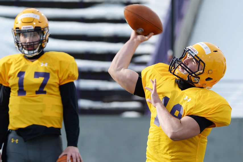 UAlbany football Joe Tortello during practice on campus in Albany on Feb. 24.
