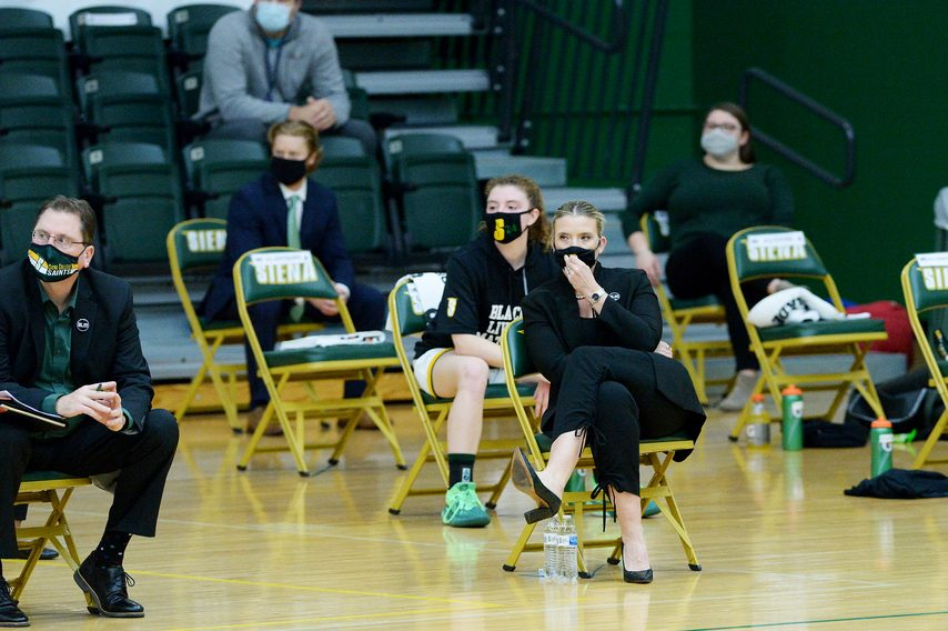 Siena women's basketball head coach Ali Jaqueson the bench during a Dec. 11 game in Loudonville.