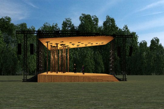 An artist's rendering of the Andrew J. Martin-Weber Lawn Stage to be built at the  Glimmerglass Festival in Cooperstown. It will be built on the south side of the campus. (Photo provided)