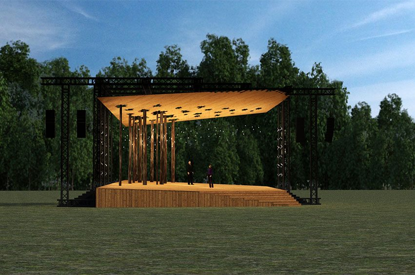An artist's rendering ofthe Andrew J. Martin-Weber Lawn Stageto be built at the Glimmerglass Festival in Cooperstown. It will be built on the south side of the campus.