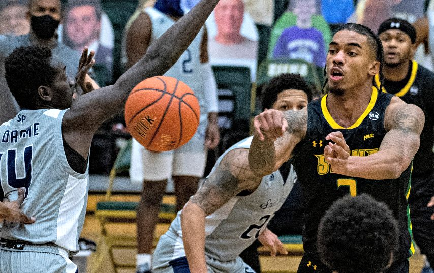 Siena's Manny Camper, right, will be honored during senior night on Thursday. (Gazette file photo)