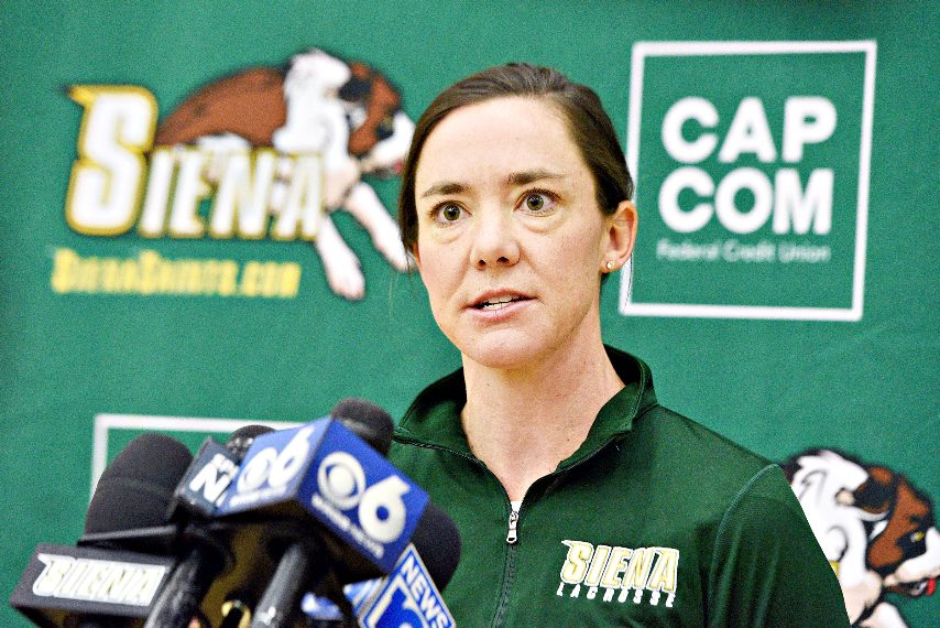 Siena women's lacrosse head coach Abby Rehfuss is shown last year. (Gazette file photo)