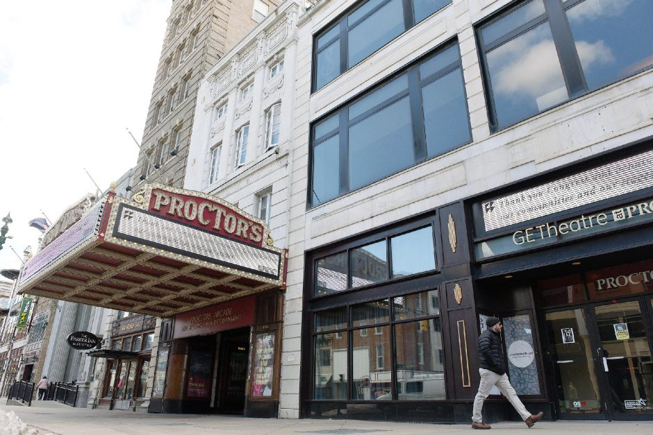 Proctors in Schenectady, pictured on Feb. 25, plans towait to re-open.