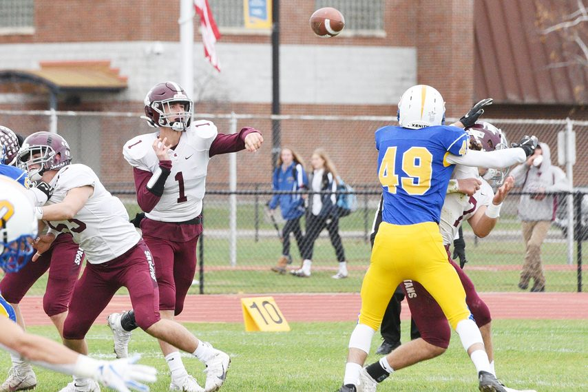 Burnt Hills- Ballston Lake quarterback Ryan Salisbury attempts a pass during a Section II football game at Queensbury late in the 2019 season.