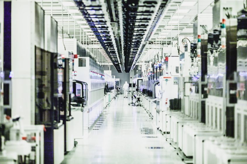 A production area is shown at GlobalFoundries' Fab8 computer chip factory in Malta.