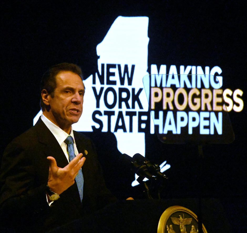 56th Governor of New York State, Andrew M. Cuomo gives the State of the State in Albany on Wednesday, January 8, 2020.