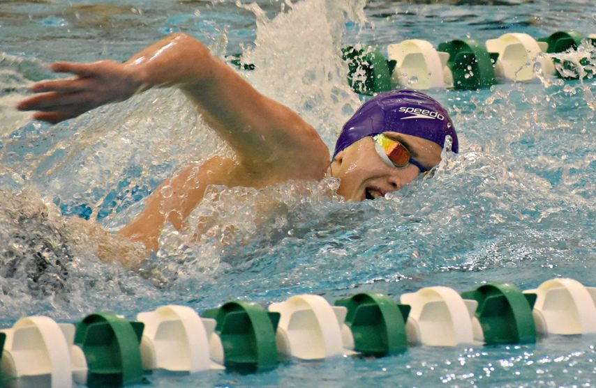 Ethan Rogowski of Shenendehowa competes in the 200-yard freestyle race during the finals of the Suburban Council boys' swimming and diving championships at the Shenendehowa Aquatic Center on Saturday.