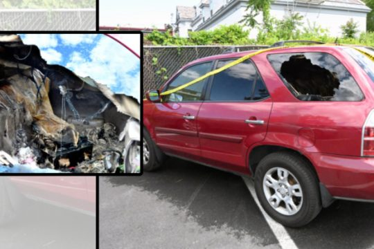 Jahonna Chaires' Acura SUV and its interior after it was allegedly firebombed near Jerry Burrell Park in Schenectady following a peaceful Black Lives Matter protest on June 6.