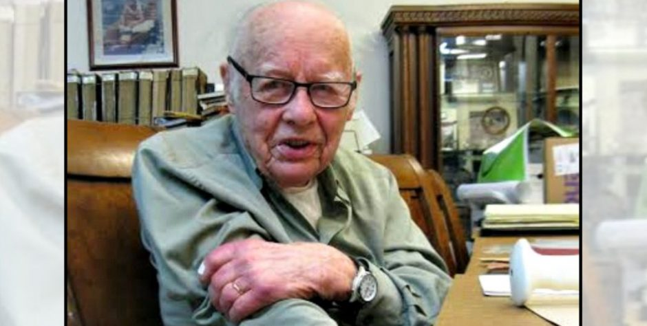 Rudy Dehn, a 97-year-old GE retiree who helped develop the microwave oven in the 1960s, sits in the research room at miSci in 2017.