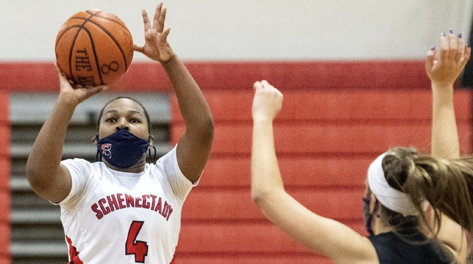 Schenectady's Talia Washington, shown taking a shot in a game on Feb. 20, led Schenectady with 19 points in a losing cause. (Gazette file photo)