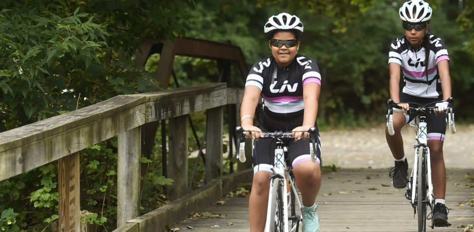 Dee Dee Martines, 11, of Schenectady and Jalyssa Terry, 10, ride their bicycles in Schenectady's Central Park in this file photo.