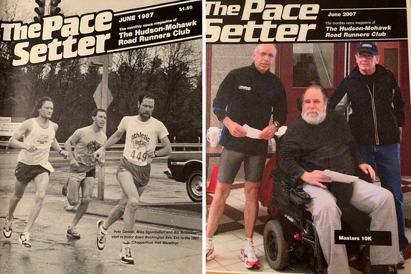 """Left: On the cover of the Hudson Mohawk Road Runners Club's """"The Pace Setter"""" publication, Bill Robinson leads a group of runners in the 1987 Chopperthon Half Marathon in Albany. Right: Robinson, in wheelchair, at a local road race in 2007. (Photos provided)"""