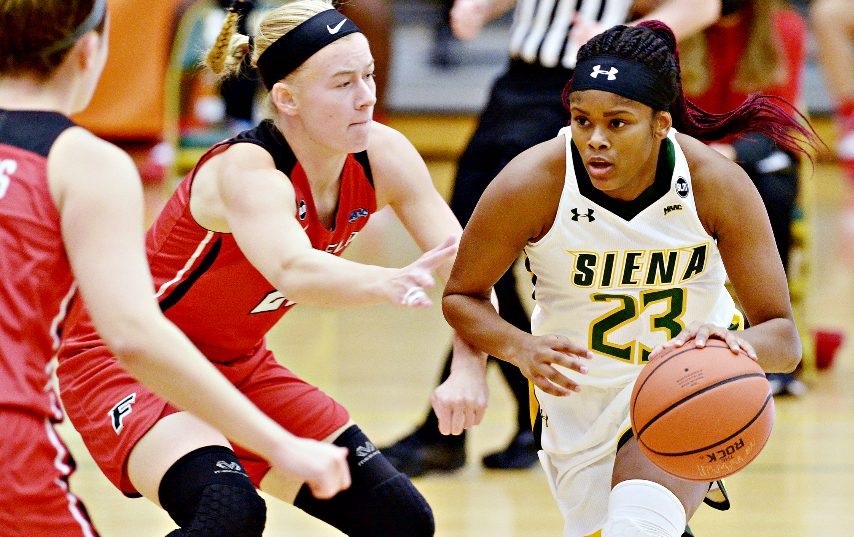 Siena's Isis Young is shown earlier this season. (Gazette file photo)