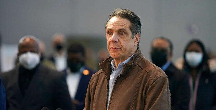 New York Gov. Andrew Cuomo speaks at a vaccination site on Monday in New York.