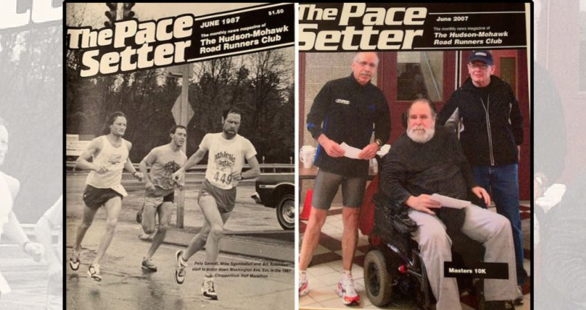 """Left: On the cover of the Hudson Mohawk Road Runners Club's """"The Pace Setter"""" publication, Bill Robinson leads a group of runners in the 1987 Chopperthon Half Marathon in Albany. Right: Robinson, in wheelchair, at a local road race in 2007."""