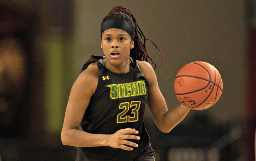 Siena's Isis Young is shown during Tuesday's game. (Anthony Sorbellini/MAAC Sports)