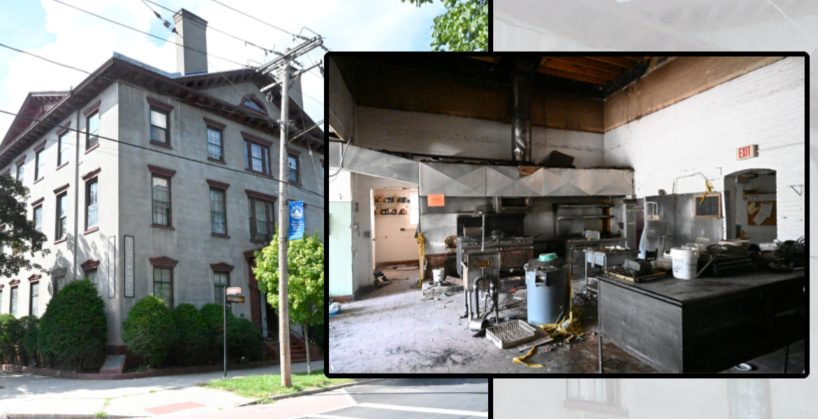 The Stockade Inn, left, and the Stockade Inn's badly fire-damaged first floor kitchen in January 2020. - File Photos