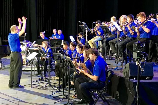 Milton Lee conducts the Saratoga Springs High School Jazz Band on the Saratoga Performing Arts Center stage at the 2019 Freihofer's Saratoga Jazz Festival. (Courtesy of SPAC)