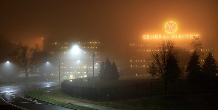 The General Electric campus at the foot of Erie Boulevard in Schenectady glows in the fog in this file image.