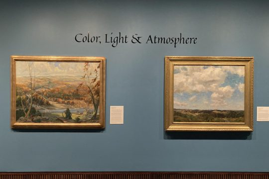 "On left, ""Canajoharie about 1780,"" by Edward Buyck. On right, ""On the West Wind,"" by Charles H. Davis."