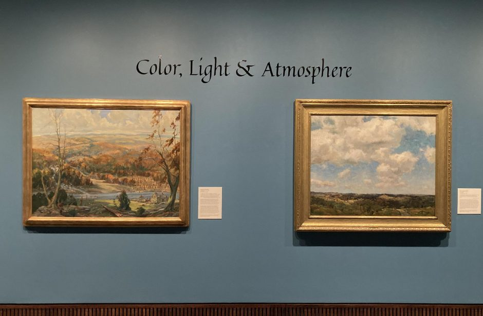 """On left, """"Canajoharie about 1780,"""" by Edward Buyck. On right, """"On the West Wind,"""" by Charles H. Davis."""