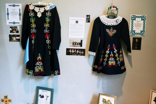 A display of Irish dance costumes will be up through March at the Irish American Heritage Museum in Albany. (photo provided)
