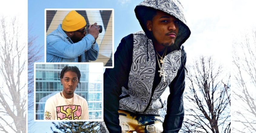 Local hip-hop artists Touchmoney Cease, right, Super Starr Gutta, bottom left, and filmographer Breaz, top left. (Stan Hudy/The Daily Gazette and provided photos)