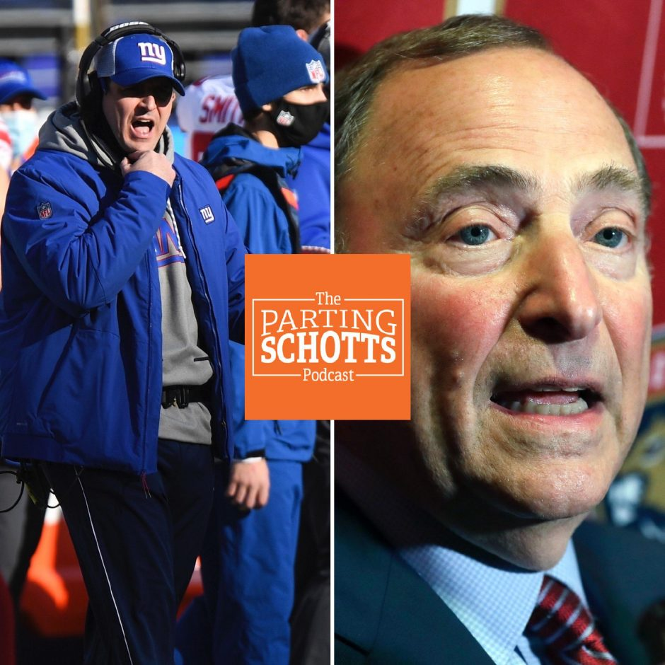 The Associated Press photosNew York Giants coach Joe Judge, left, and NHL Commissioner Gary Bettman are among the topics on the latest 'The Parting Schotts Podcast.'