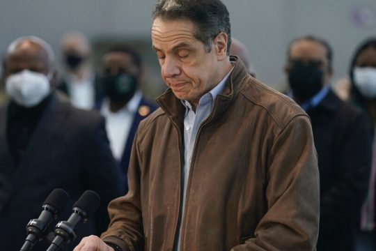 Gov. Andrew Cuomo speaks at a vaccination site on Monday, March 8