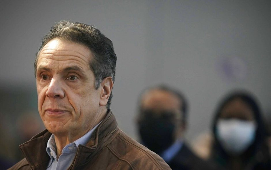 Gov. Andrew Cuomo speaking at a vaccination site in New York March 8