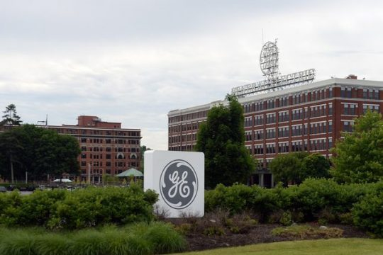 The main gate of General Electric's Schenectady campus is shown in 2018. GAZETTE FILE PHOTO