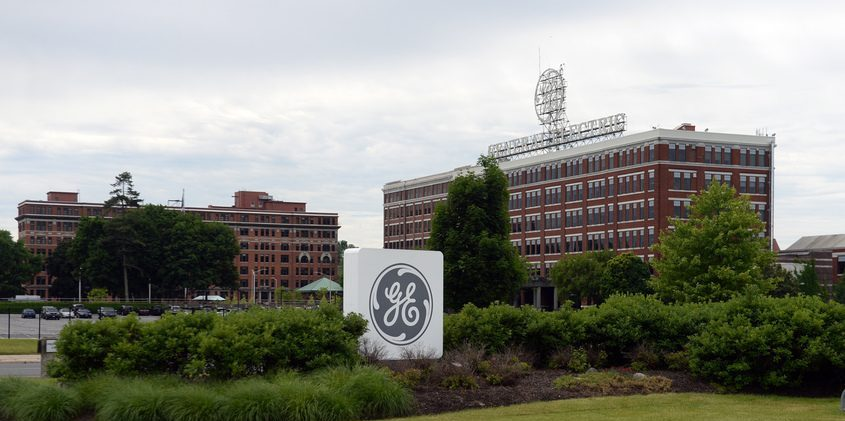 The main gate of General Electric's Schenectady campus is shown in 2018.GAZETTE FILE PHOTO