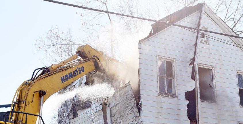 Demolition at 1052 Barrett Street Friday