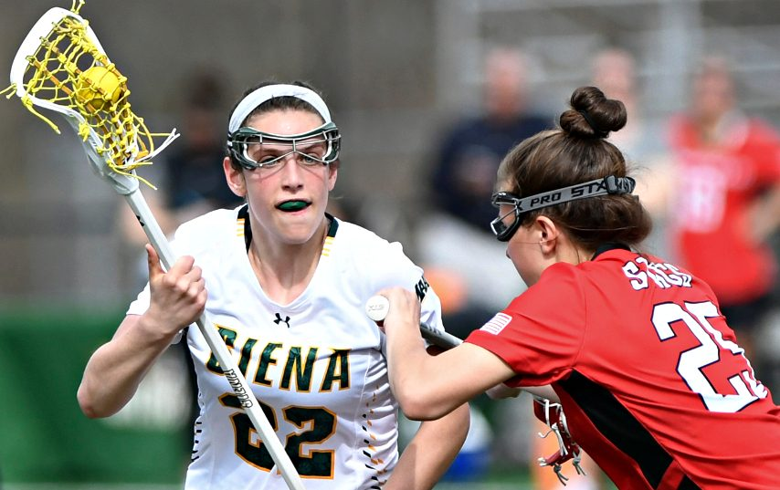 Siena's Mary Soures, left, is shown during a 2019 game. (Gazette file photo)