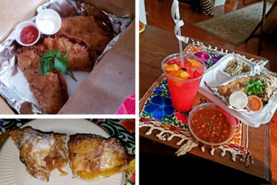 At Alotta Empanadas, clockwise from top left:Three empanadas with golden, flaky crusts; a catfish dinner alongside beans with sauce and a cup of not-too-sweet fruit punch; and apple and peach empanadas for dessert.