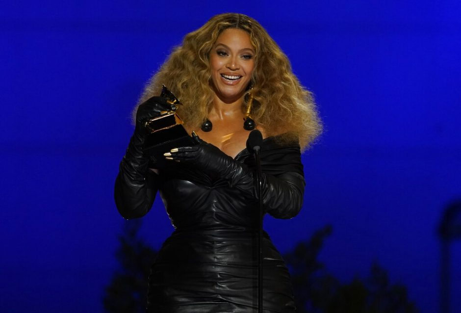 "Beyonce accepts the award for best R&B performance for ""Black Parade"" at the 63rd annual Grammy Awards at the Los Angeles Convention Center on Sunday."