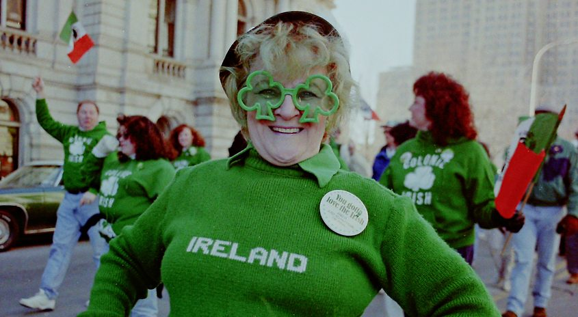 Anna May Wozniak of Scotia shows off her allegiance to Ireland as she walks downtown Albany during the city's 1996 St. Patrick's Day parade.