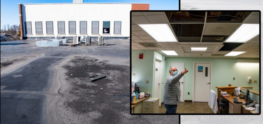The roof of the Rotterdam Town Hall on Sunrise Avenue on Friday. Inset:Rotterdam Town Steve Tommasone points to where water is leaking into his office through a skylight