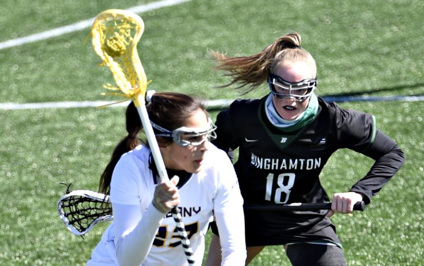 Katie Pascale, left, is shown during this past weekend's UAlbany win.