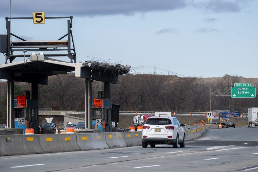 PETER R. BARBER/STAFF PHOTOGRAPHERThe toll plaza at Thruway Exit 24 had been mostly removed on Nov. 21, 2020.