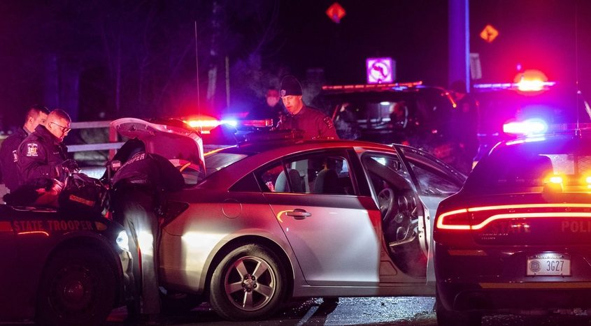 State troopers surround a car involved in a high speed pursuit that ended on West Campbell Avenue across from ViaPort Mall in Rotterdam early Tuesday
