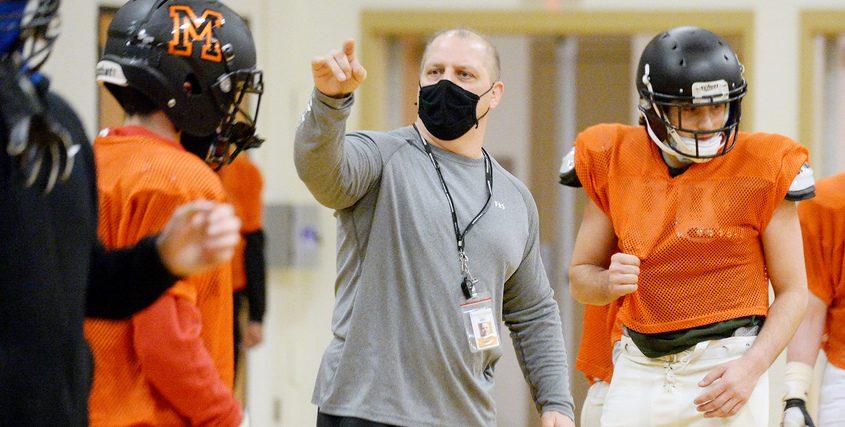 Mohonasen's head coach John Gallo during football practice Monday