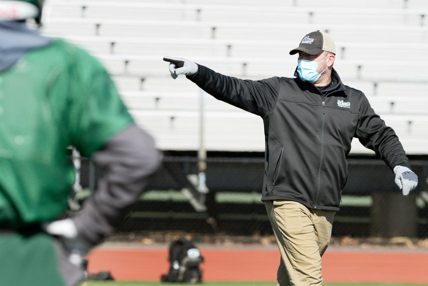 Shenendehowa's head coach Brian Clawson during football practice at Shenendehowa High School in Clifton Park on Monday, March 15, 2021.