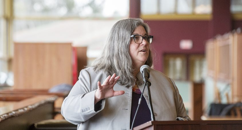 Assemblywoman Carrie Woerner of Saratoga Springs speaks during a press conference inside Fortunes Restaurantat the Saratoga Casino Hotel on Tuesday.