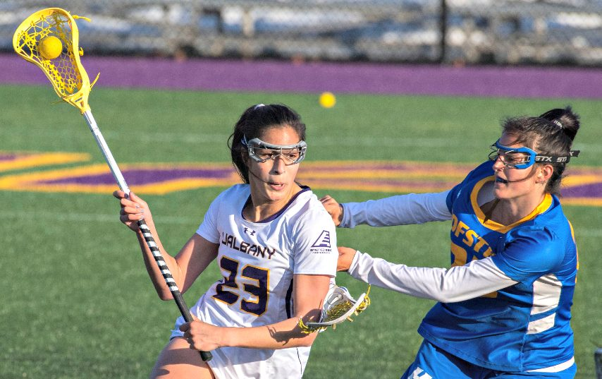 UAlbany's Katie Pascale, left, is shown during a recent game.