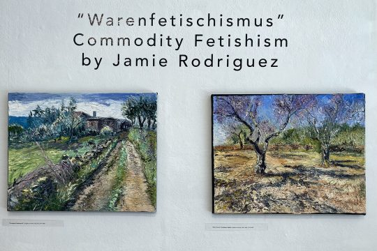 "Oil paintings by Jamie Rodriguez on exhibit at The Arts Center of the Capital Region. On left, ""Portuguese Landscape #2,"" and on right ""Olive Groves."""