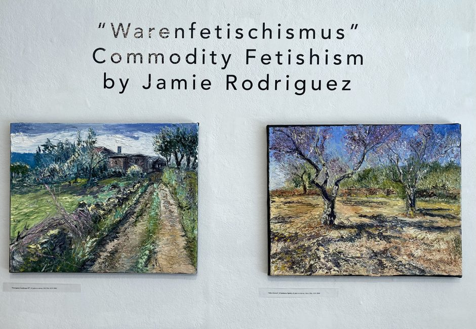 """Oil paintings by Jamie Rodriguez on exhibit at The Arts Center of the Capital Region. On left, """"Portuguese Landscape #2,"""" and on right """"Olive Groves."""""""
