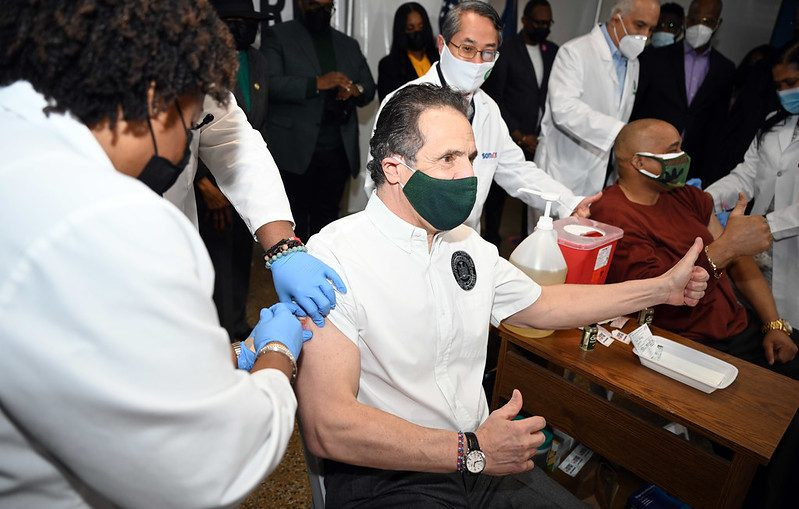 GOVERNOR'S OFFICEGov. Andrew Cuomo receives the COVID vaccine Wednesday at Mount Neboh Baptist Church in Harlem.