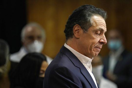 Gov. Andrew Cuomo speaks before getting a COVID-19 vaccine at a church in the Harlem neighborhood of New York, Wednesday.